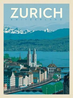 Switzerland: Zurich - After the smashing success of our Art & Soul of America collections, we decided to create classic travel prints featuring our favorite cities around the world. These are perfect for decorating with a sense of wanderlust and globe-trotting adventure.