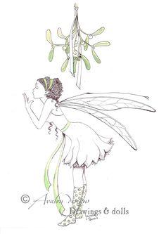 Mistletoe (Christmas) fairy in pen & water-colour www.avalon-designs.com