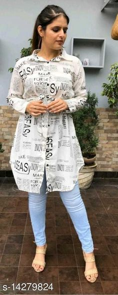 Shirts NEW PAPER PRINT WHITE SHIRT VOL.1 Fabric: Crepe Sleeve Length: Long Sleeves Pattern: Printed Multipack: 1 Sizes: S (Bust Size: 36 in, Length Size: 38 in, Waist Size: 32 in, Hip Size: 38 in)  XL (Bust Size: 42 in, Length Size: 38 in, Waist Size: 38 in, Hip Size: 44 in)  L (Bust Size: 40 in, Length Size: 38 in, Waist Size: 36 in, Hip Size: 42 in)  M (Bust Size: 38 in, Length Size: 38 in, Waist Size: 34 in, Hip Size: 40 in)  Country of Origin: India Sizes Available: S, M, L, XL, XXL   Catalog Rating: ★4.1 (500)  Catalog Name: Trendy Retro Women Shirts CatalogID_2831154 C79-SC1022 Code: 773-14279824-039