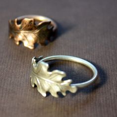 Items similar to Small Oak Leaf Wrap Ring in Copperplated Brass, Custom Size on Etsy
