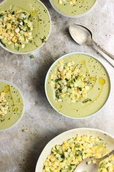 Chilled Cream of Basil Soup with a Corn + Cucumber Salad | @withfoodandlove