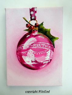 """""""A VERY SHINY BRITE CHRISTMAS""""  Charming, nostalgic and trendy-retro, these glass globe ornaments are once again prized for their sweet sentiments and bright colors! Add a sprig of holly and enjoy!   DETAILS  this piece is a fully hand painted original by seller (© witsend) on a stretched gallery canvas and may be displayed without a frame or may easily be popped into a standard size, ready-made frame.   Your piece will arrive with all necessary hanging apparatus in place for your immediate…"""