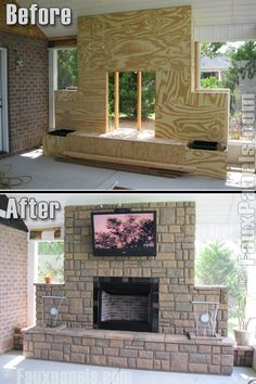 Faux rock fireplace panels completely transform this screened in porch.
