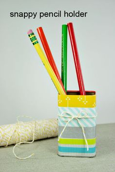 Make a really cute pencil holder. | 56 Adorable Ways To Decorate With Washi Tape