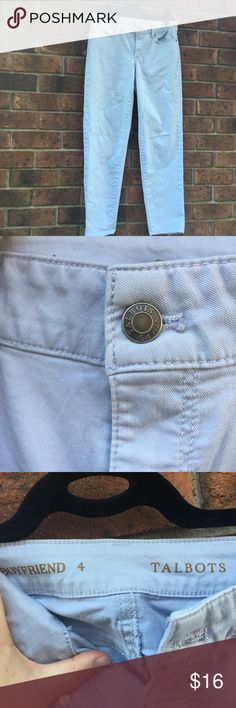 Talbots boyfriend jeans light blue Excellent condition, very light blue, boyfriend jeans. These pants have excellent stretch! Grab these while you can!!   Comes from a smoke free and pet free home Talbots Jeans Boyfriend