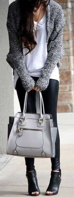 leather white and grey