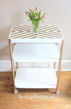 The Salvaged Boutique saves a metal rolling cart before it heads to the dumpster. Learn how to refurbish an old metal rolling cart. Refurbished Furniture, Furniture Makeover, Painted Furniture, Repurposed Furniture, Furniture Making, Diy Furniture, Decoupage, Diy Bar Cart, Bar Carts