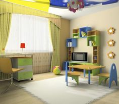 A 3-D rendered child's room, with a space for a play area and a desk for the older children. A large window lets in plenty of light.