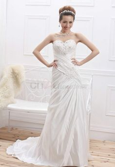 Glorious Sheath/Column Sweetheart Chapel Train satin lace Wedding Dresses with Tiered pleat beadwork http://www.chouchoudress.com/product/glorious-sheath-column-sweetheart-chapel-train-satin-lace-wedding-dresses-with-tiered-pleat-beadwork.html