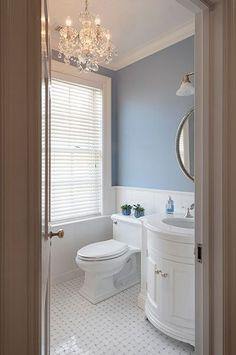 Amy Eisenberg: Bathroom Refresh - New England Home Magazine Large Bathrooms, Rustic Bathrooms, Bathrooms With Chandeliers, Small Bathroom Chandelier, Bathroom Lighting, Budget Bathroom Remodel, Bathroom Renovations, Decorating Bathrooms, Bathroom Renos