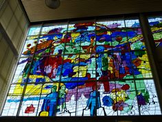 Stained Glass by Hans Truijen (1928-2005) in Heerlen The Netherlands