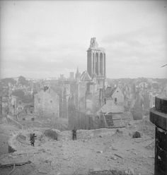 The ruins of Caen, Normandy, after it was bombed by the allies prior to its recapture from its German occupiers, 7 July 1944