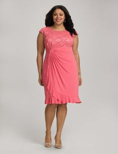 Plus Size | Dresses | Cocktail Dresses | Plus Size Ruffled Lace Top Faux Wrap Dress | dressbarn