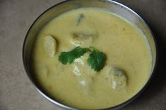 Gatta Kadhi - गट्टा कढी (Yogurt and Chickpea Flour Dumplings in Yogurt Gravy) - BM # 5 Kadi Recipe, Flour Dumplings, Rajasthani Food, Indian Flat Bread, Gram Flour, Indian Food Recipes, Ethnic Recipes, Indian Breakfast, Savoury Dishes