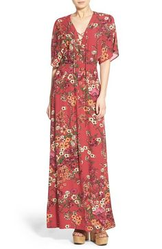 Wayf floral print lace-up maxi dress available at #Nordstrom.