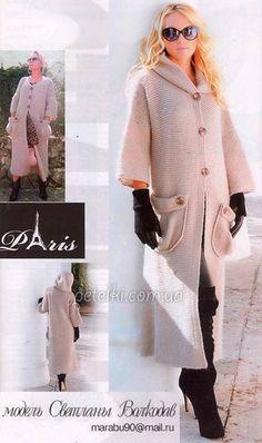 Пальто платочной вязкой от Светланы Волкодав. Описание вязания