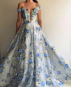 Blue Handmade Flowers Printed Evening Dresses Off Shoulder Long Formal Dress Party Gown Vestido De Festa Longo Grad Dresses, Trendy Dresses, Ball Dresses, Elegant Dresses, Ball Gowns, Evening Dresses, Fashion Dresses, Formal Dresses, Wedding Dresses