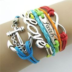 Women's Infinity Friendship Love Anchor Leather Charm Bracelet DIY Good-looking JUL 28