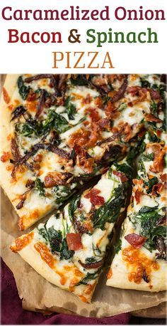 Caramelized Onion Bacon and Spinach Pizza - layered with white sauce mozzarella parmesan crispy bacon fresh spinach and caramelized onions. it is AMAZING! Pizza Recipes, Dinner Recipes, Cooking Recipes, Spinach Recipes, Cod Recipes, Cooking Rice, Cooking Bacon, Lentil Recipes, Steak Recipes