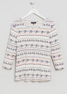 3/4 Sleeve Printed T-Shirt - Matalan