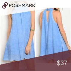 Blue mineral wash A-line tunic dress 2LEFT Stunning piece with a keyhole back closure - 100 % Rayon in a pretty mineral wash blue Dresses