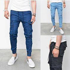 21feef6fc81f Pre-Washed Mens Drawcord Slim Baggy Cargo Cuffed Jogger Denim Jeans Guylook  in Clothing