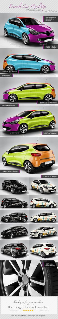 10eme Mockup en vente sur graphicRiver.  Clio like car wrapping Mock up Photoshop, photorealistic, psd, popular, French, auto, impress your client !!