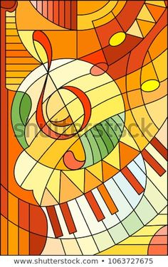 Abstract image of a treble clef in stained glass style ,in yellow orange tones Stained Glass Designs, Stained Glass Patterns, Stained Glass Art, L'art Du Vitrail, Sun Stock, Diy Art Projects, Sewing Art, Abstract Images, Art Model