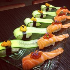 Elegant dish for a special party,  for more sushi pics follow me here: @makesushiorg #sushi #cucumber Also check out these sushirecipes here: www.makesushi.org/sashimi/
