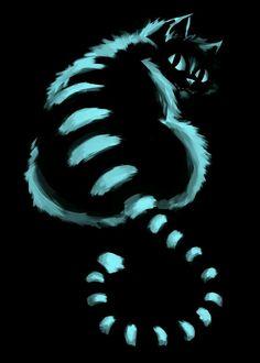"""#Arte ☆ #Ilustração * """" Gato Cheshire """" Personagem do Filme, """" Alice no País das Maravilhas """" Gato que Ri, Gato Sorridente."""
