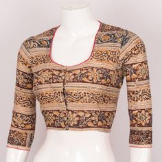 Buy Online Blouses Crop Tops - Handcrafted Kalamkari Cotton Blouse With Piping 10026019 - Size 36 - back - AVISHYA.COM