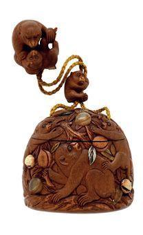 Japanese Netsuke... netsuke carved as monkey and young and an ojime