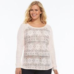 Plus Size SONOMA life + style® Burnout Graphic Thermal Tee
