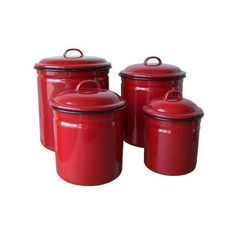 Red Enamelware 4 Piece Canister Set - Retro/Vintage Home Decor Crosley Radio Reproductions Unique Gifts Tin Signs Enamelware