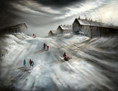 A signed limited edition canvas on board of 195 by nostalgic artist, Bob Barker entitled Whale of a Time Winter Fun, Winter Time, Irish Painters, Ur Beautiful, Landscape Drawings, Landscapes, Urban Life, Winter Landscape, Cool Artwork