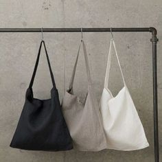 Simple linen across the chest tote by White Nest Market. This beautiful and simple tote was designed with slightly longer straps to allow for wearing. Fog Linen, Linen Bag, Linens And Lace, Fabric Bags, Black Linen, Cloth Bags, Natural Linen, Beautiful Bags, My Bags