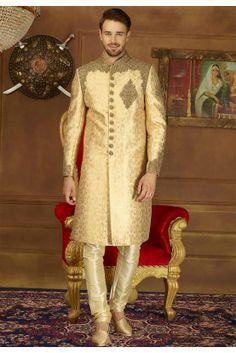 Beige and Brown color Sherwani in Brocade, Jacquard fabric with Embroidered, Zari work Kurta Men, Mens Sherwani, Wedding Sherwani, Sherwani Groom, Tuxedo Wedding, Wedding Men, Wedding Suits, Dubai Wedding, Wedding Venues
