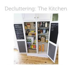 There's definitely some stylized craziness going on here (why yes, I do color code my cereal boxes – don't you?) but there are also a few very clever features.  Most obvious is the use of chalkboard paint to convert the inside of the cabinets into a place for menus and grocery lists.