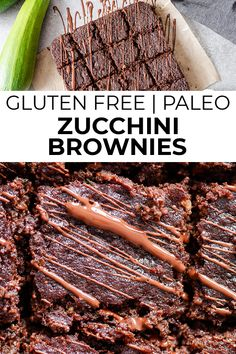 Fudgy and rich paleo zucchini brownies make the perfect summertime treat! With tons of zucchini on hand from summer gardens, this is a great zucchini recipe idea! Plus, using almond flour and coconut flour, they're paleo, gluten free, and low carb. Zucchini Brownies Paleo, Paleo Brownies, Chewy Brownies, Primal Recipes, Real Food Recipes, Healthy Recipes, Dessert Recipes For Kids, Paleo Dessert, Healthy Chocolate