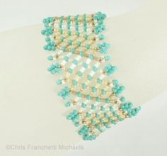 ": Beaded Netting Bracelet - Turquoise Sand - click on ""pull this design together"" for the diagram"