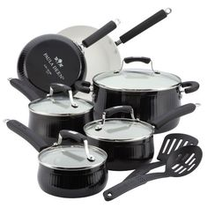 Savannah Collection Aluminum Black Nonstick 12-Piece Cookware Set