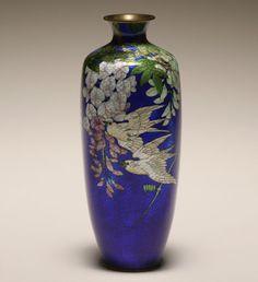 japanese cloisonne   Japanese ginbari cloisonne vase, enamel on silver foil,