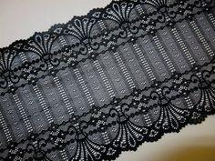 1 METER  ELEGANTE Schwarz SPITZE elastisch Borte Lace 23,8cm breit MODE