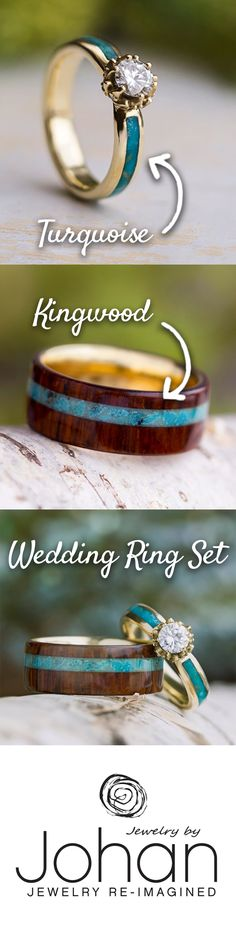 Turquoise Wedding Ring Set, Moissanite Engagement Ring With Wood Band