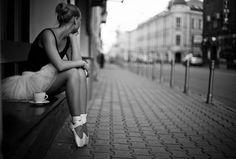 tea, ballet shoes, street, black and white