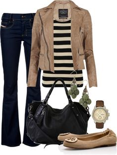 Dark jeans, striped tee & brown jacket