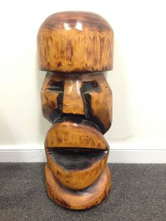 Tiki Large 24 inch Hawaiian Polynesian Carved Wooden Sculpture Big Mouth | eBay