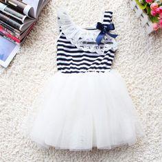 White Dress Striped Dress for Girls Spring and Summer Outfit Sleeveless Tutu Dresses Girls Easter Dresses, Toddler Girl Dresses, Girls Dresses, Summer Dresses, Toddler Girls, Baby Girls, Summer Outfit, Girls Fit, Kids Girls