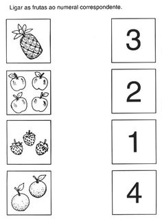 Count and match Creative Curriculum Preschool, Preschool Writing, Numbers Preschool, Preschool Learning Activities, Montessori Preschool, English Activities For Kids, Math For Kids, Kindergarten Math Worksheets, Worksheets For Kids