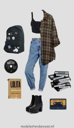 Grunge Outfits 2020 Mode Grunge grunge fashion grunge grungefashion o Vintage Outfits, Retro Outfits, 90s Style Outfits, Movie Inspired Outfits, Vintage Clothing, Outfits Casual, Mode Outfits, Preppy Casual, Punk Outfits